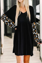 Load image into Gallery viewer, V-Neck Leopard Sleeve Midi Dress