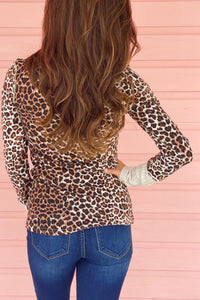 Leopard or Camo Ribbed Sleeve Tops
