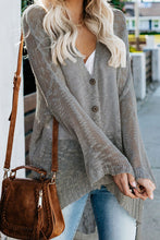 Load image into Gallery viewer, Pre-Order Gray Loose Lightweight V Neck Buttoned Sheer Knit Cardigan