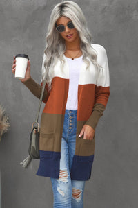 Pre-Order Color Block Longline Cardigan with Pocket