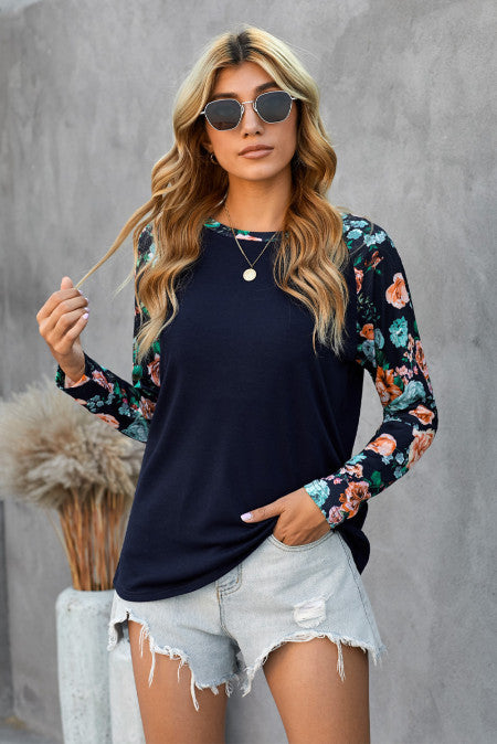Navy Floral Sleeve Top