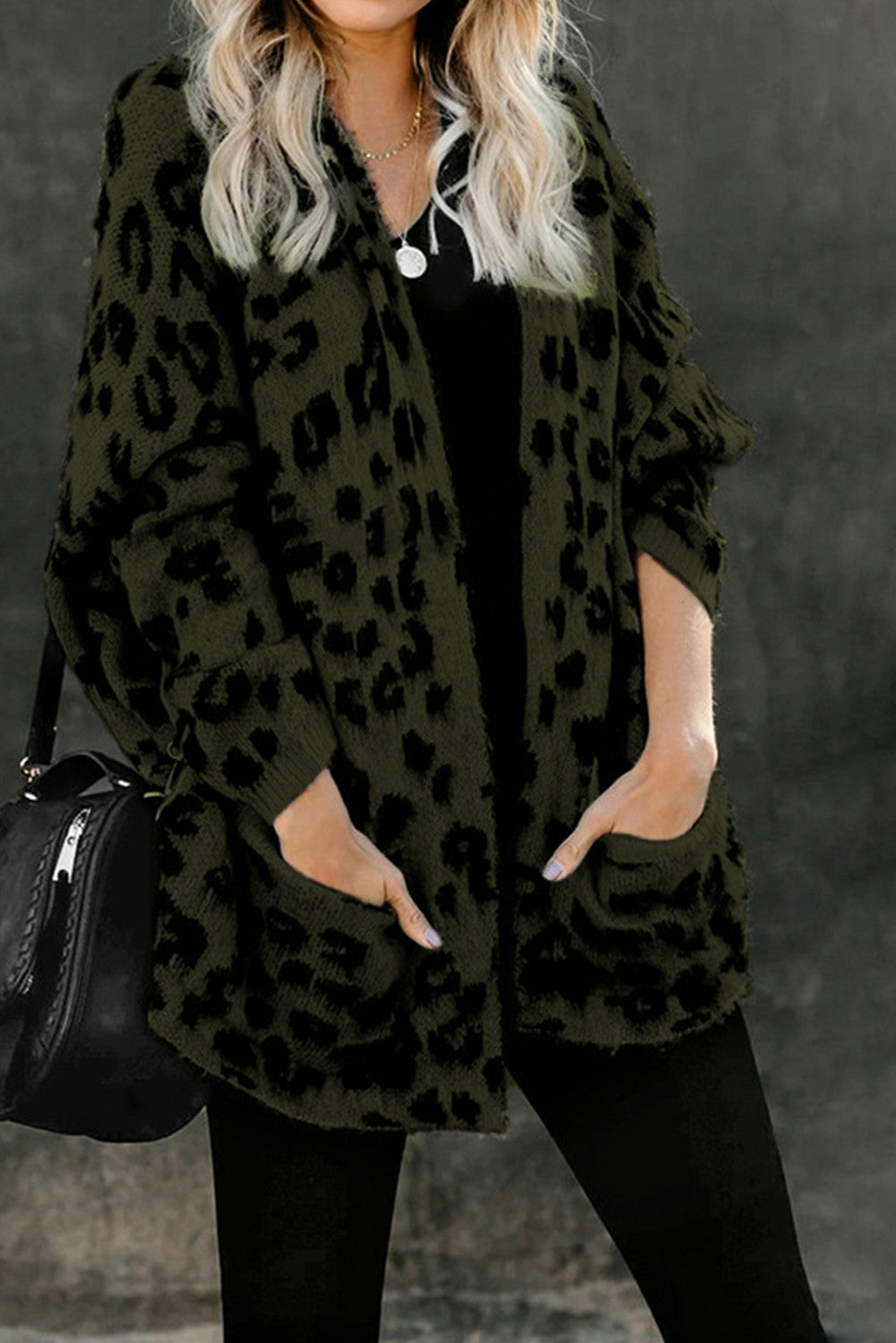 Leopard Front Pocket Cardigan