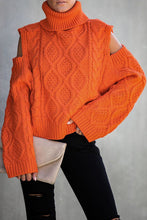 Load image into Gallery viewer, Pre-Order Turtleneck Cold Shoulder Textured Sweater