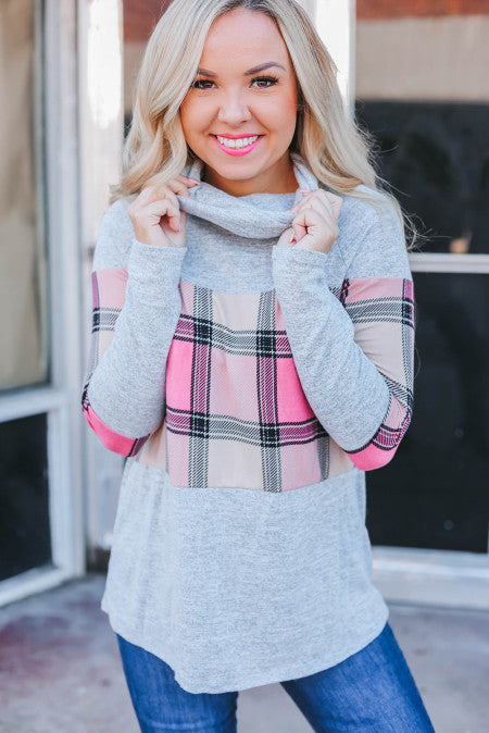 Pre-Order Pink Plaid Cowl Neck Top