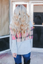 Load image into Gallery viewer, Pre-Order Pink Plaid Cowl Neck Top