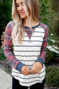 Pre-Order Navy & Plaid Striped Top