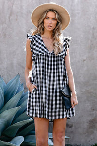 Pre-Order Black Plaid Ruffle V Neck Pocketed Babydoll Mini Dress