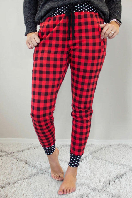 Pre-Order Buffalo Plaid Joggers with Dot Accent