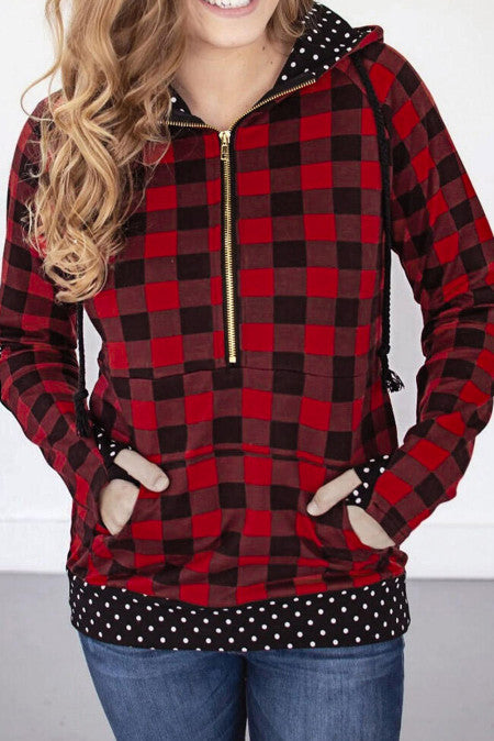 1/4 Zip Red Buffalo Plaid & Dots