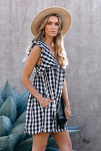 Load image into Gallery viewer, Pre-Order Black Plaid Ruffle V Neck Pocketed Babydoll Mini Dress