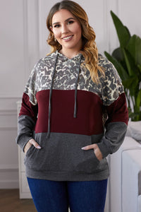 Plus Leopard Color Block Hoodie