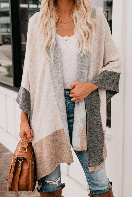 Color Block Irregular Hem Knit Cardigan