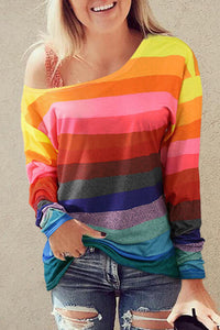 Rainbow Stripe Slouch Top