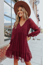 Load image into Gallery viewer, V-Neck Dotted Burgundy Empire Dress
