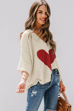 Load image into Gallery viewer, Beige V-neck Dropped Sleeve Heart Print Slouchy Top Valentine