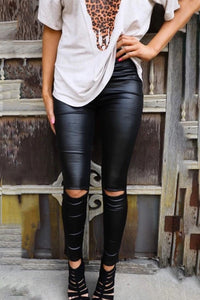Pre-Order Knee Slit Pleater Leggings