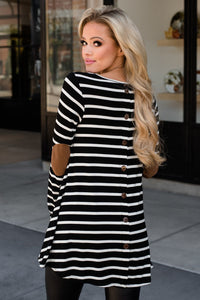 Black or White Stripe Tunic w/Button Back
