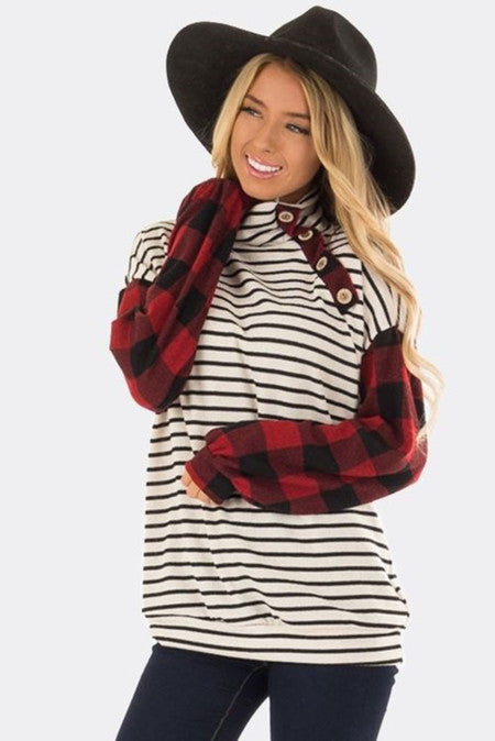 Pre-Order Button White Stripe & Buffalo Plaid Top