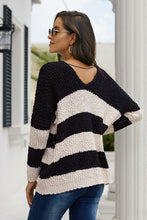Load image into Gallery viewer, V-Neck Black & White Stripe Pop Corn Sweater