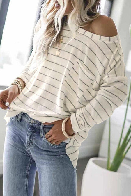 White Top with Stripe and Font pocket