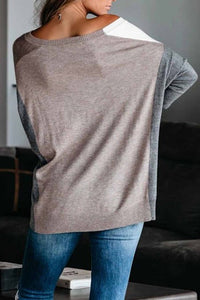 Khaki Color block Loose Fit Knit Sweater