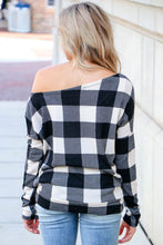 Load image into Gallery viewer, White Buffalo Plaid Slouch Top