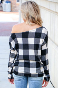 White Buffalo Plaid Slouch Top