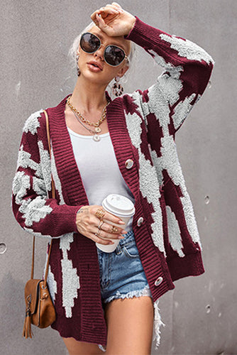 Pre-Order Buttoned Patterned Knit Cardigan