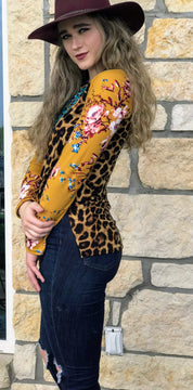 Brown Mustard With Flower Leopard Long Sleeve