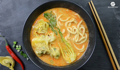 Creamy Udon Soup with Pork Wontons