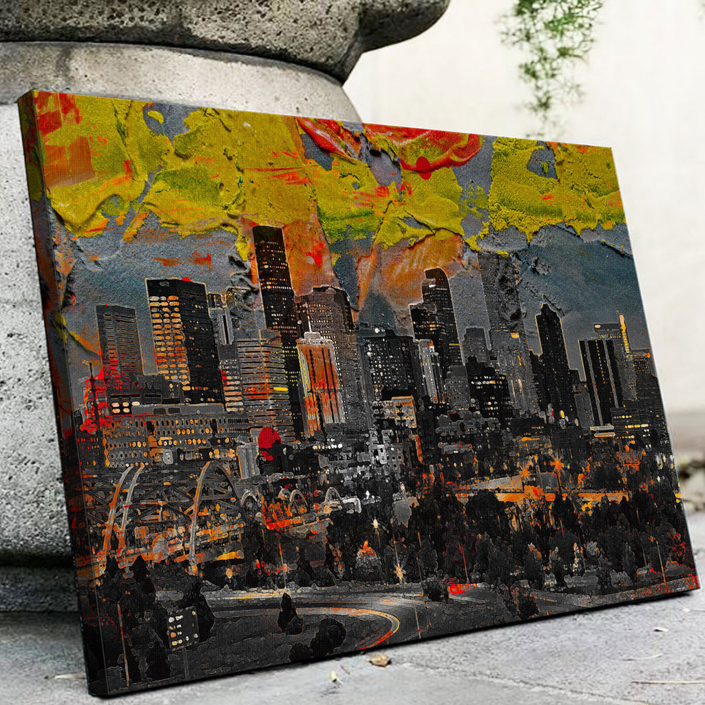 Abstract Denver Skyline Canvas Set