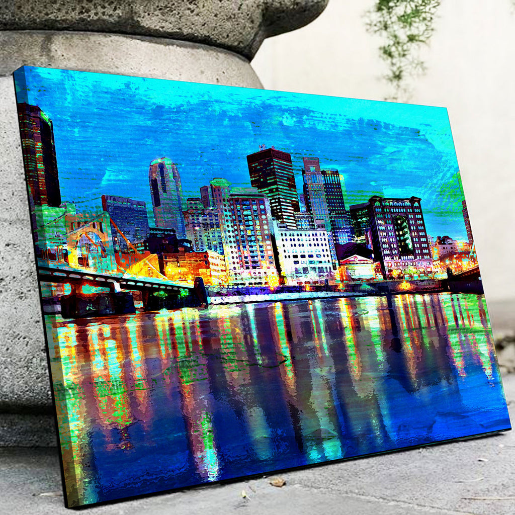Abstract Pittsburgh At Night Canvas Set