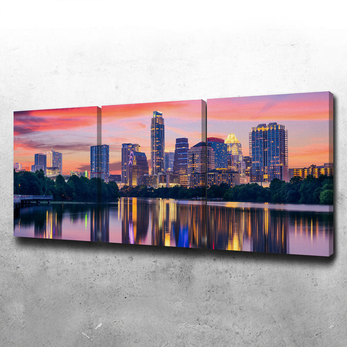 Austin At Night Canvas Set