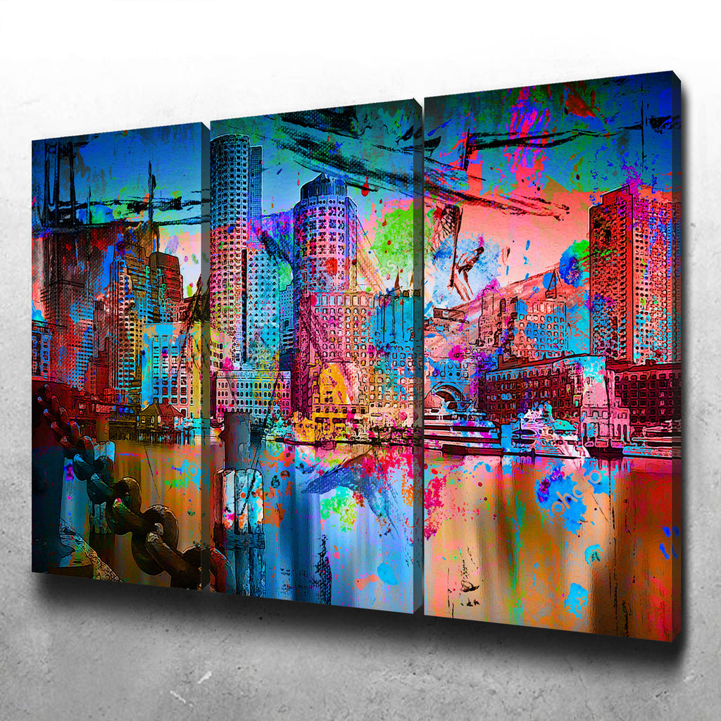 Abstract Boston Skyline Canvas Set