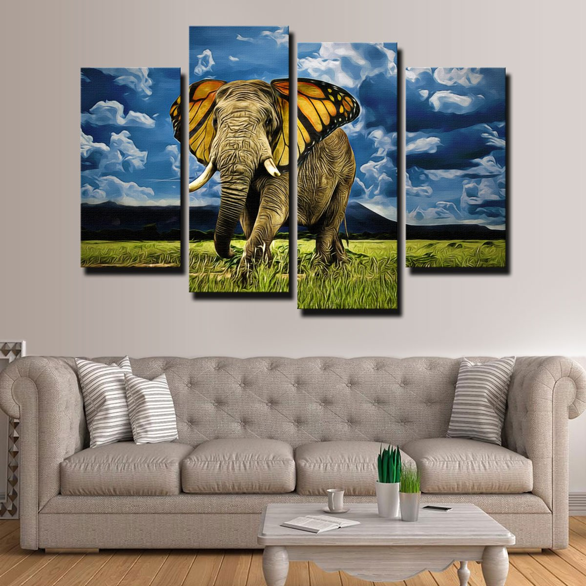 Butterfly Elephant Canvas Set