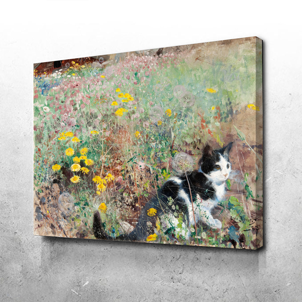 Cat on a Flowery Meadow Canvas Set