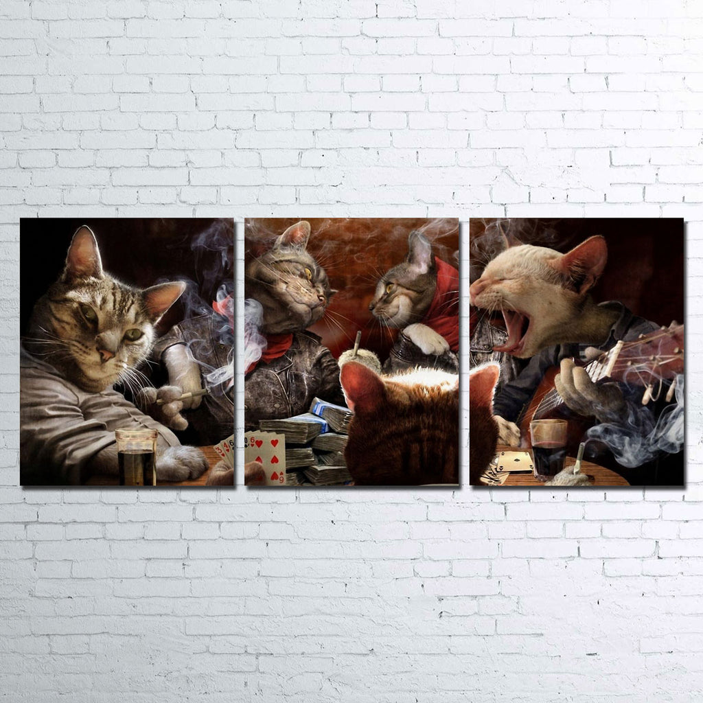 Cats Playing Poker Canvas Set