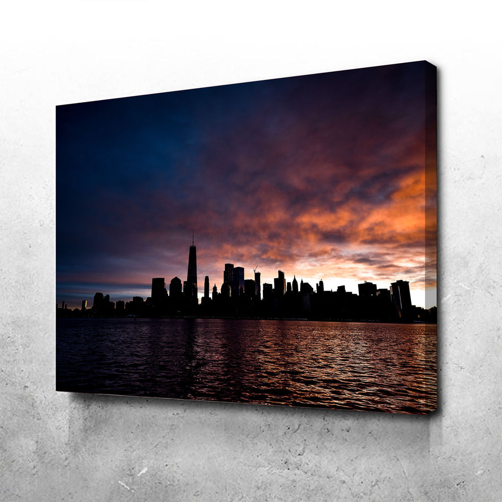 NYC Dark Sun Skyline Canvas Set