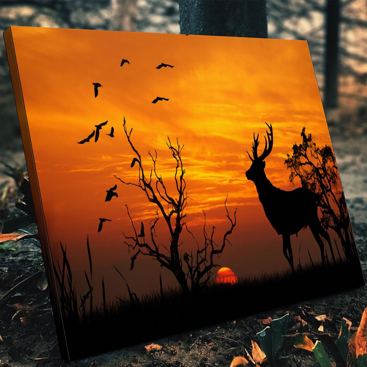 Deer In The Sunset Canvas Set