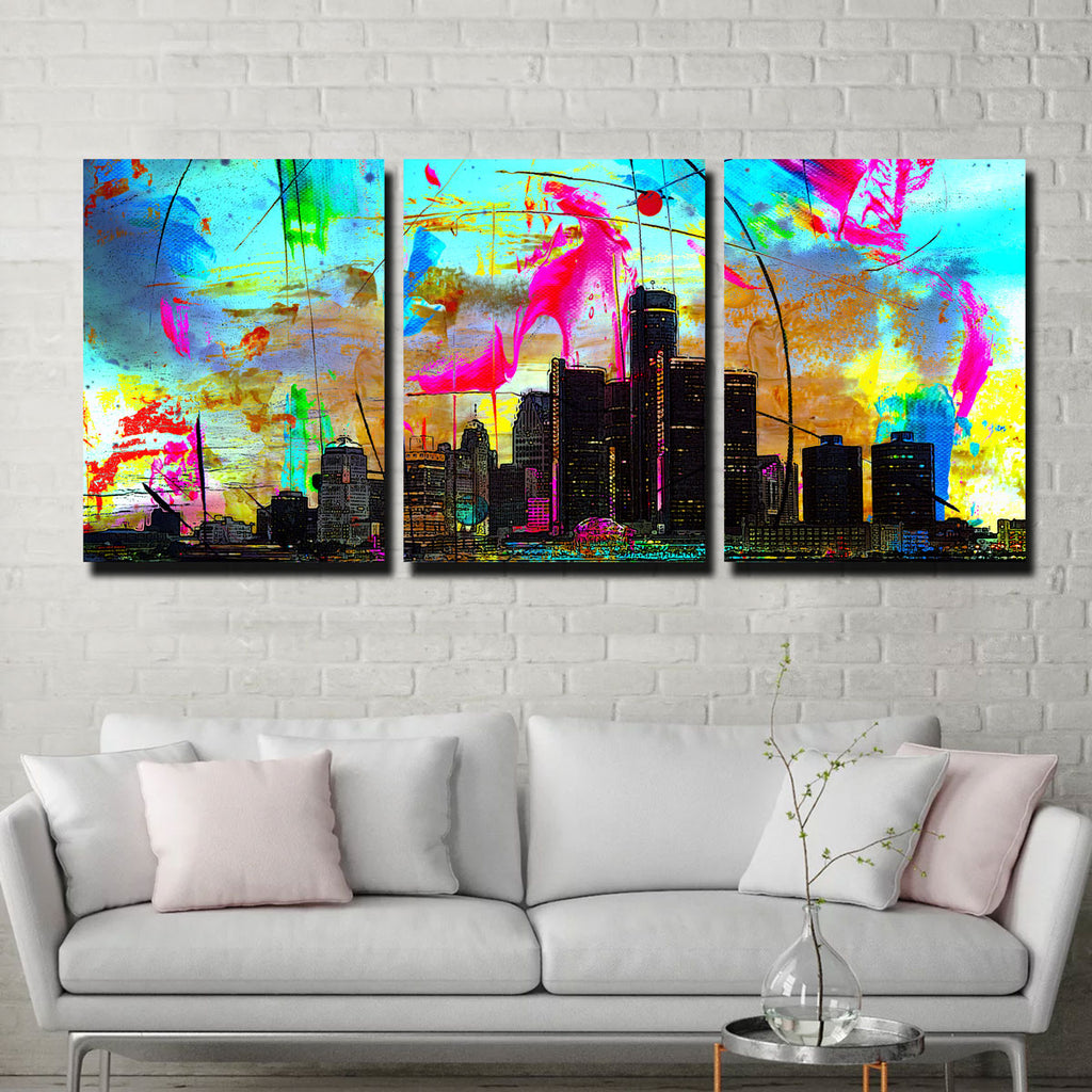 Abstract Detroit Canvas Set