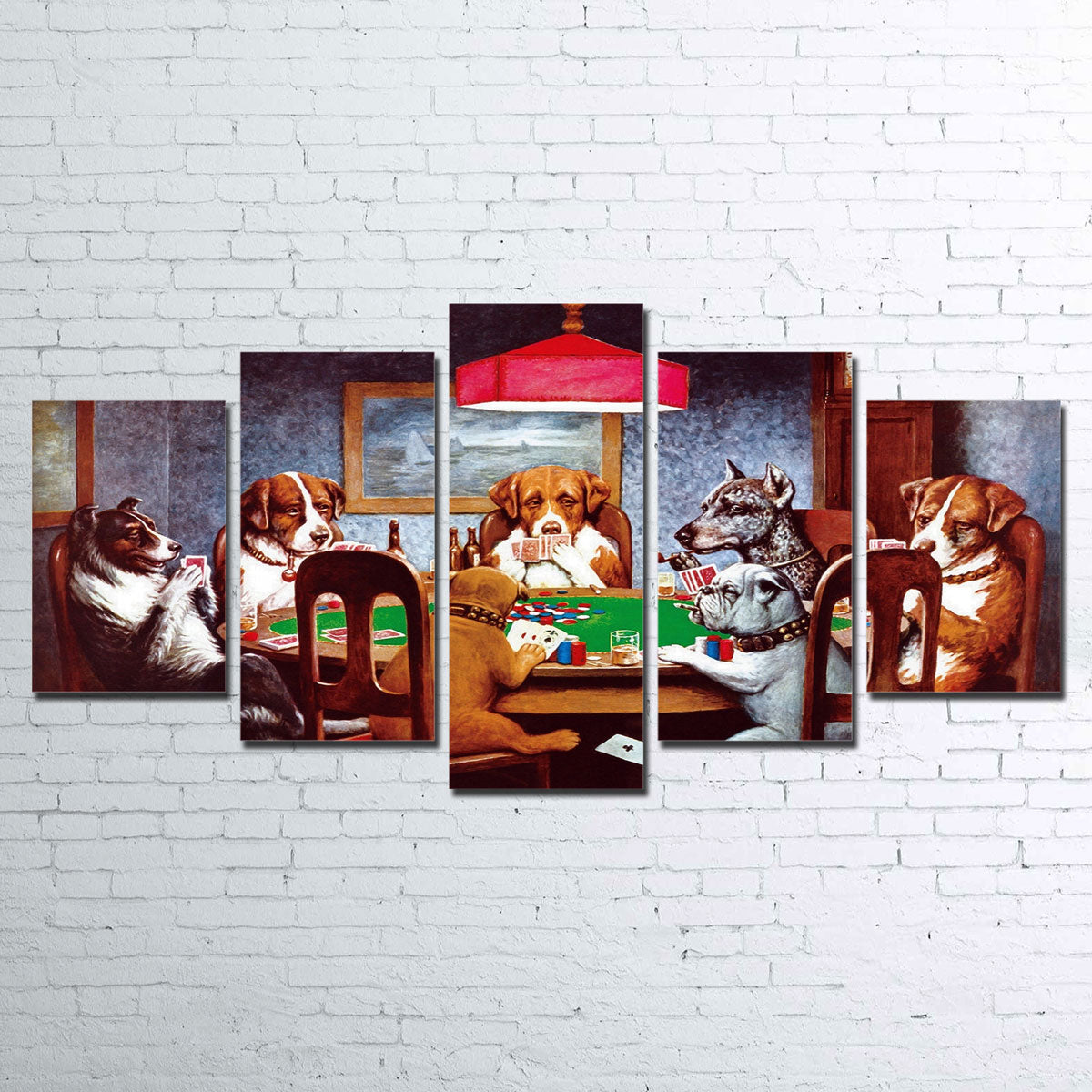 Dogs Playing Poker Canvas Set
