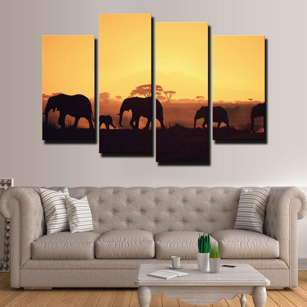 Elephants Walking Canvas Set