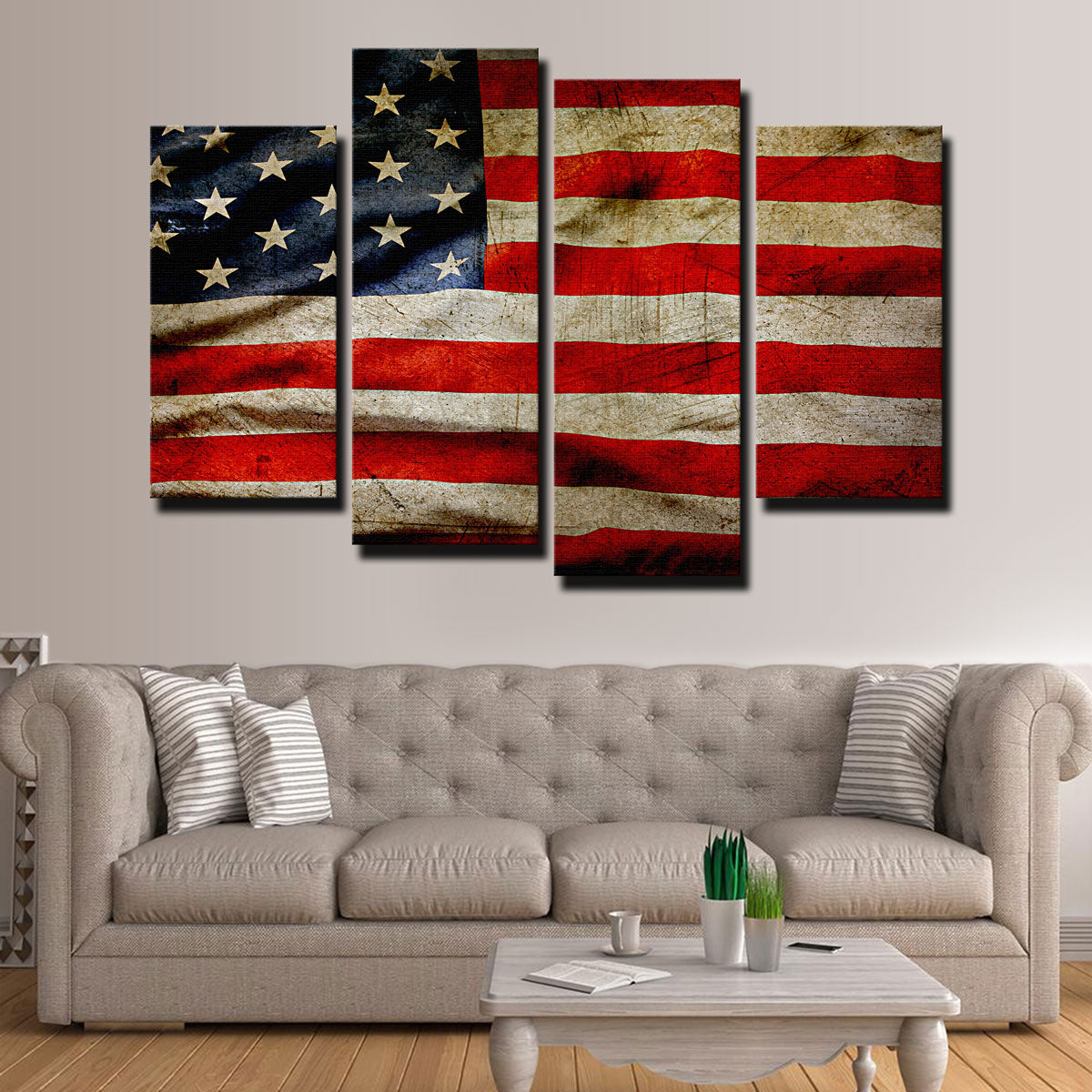 Grunge American Flag Canvas Set