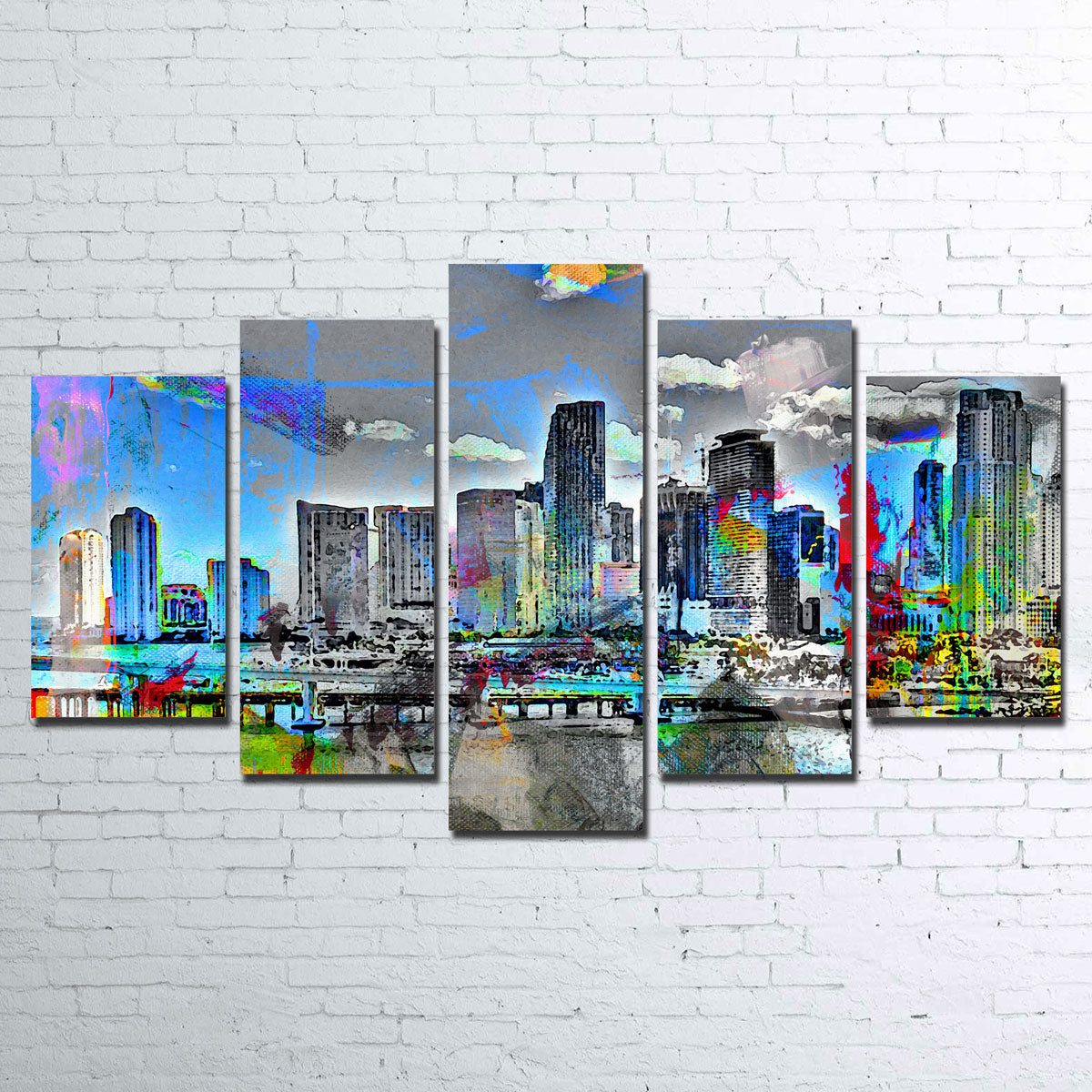 Abstract Miami Skyline Canvas Set