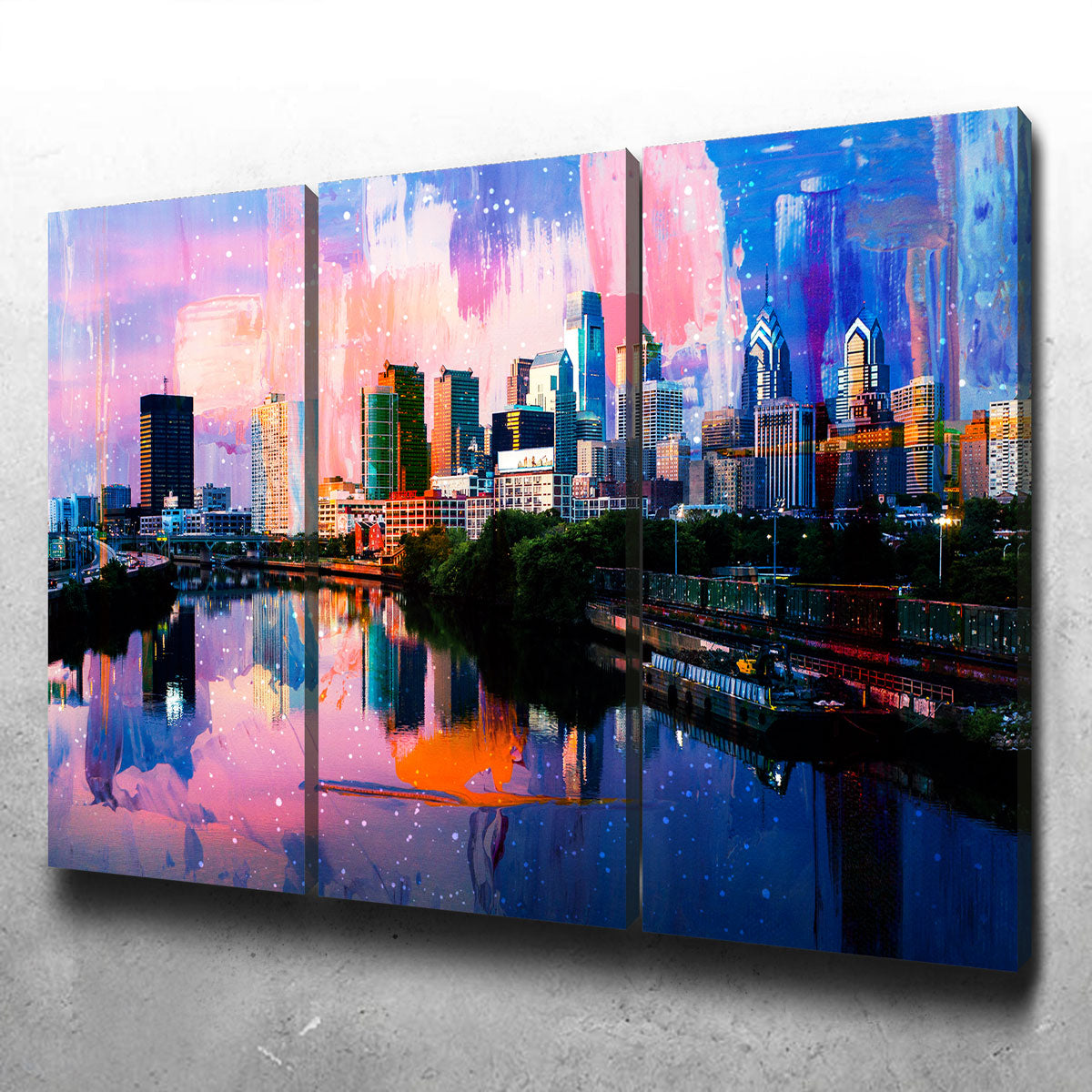 Abstract Philadelphia Skyline Canvas Set