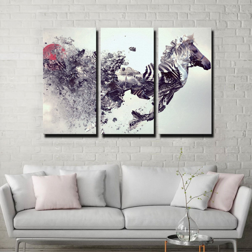 Zebra Abstract Canvas Set