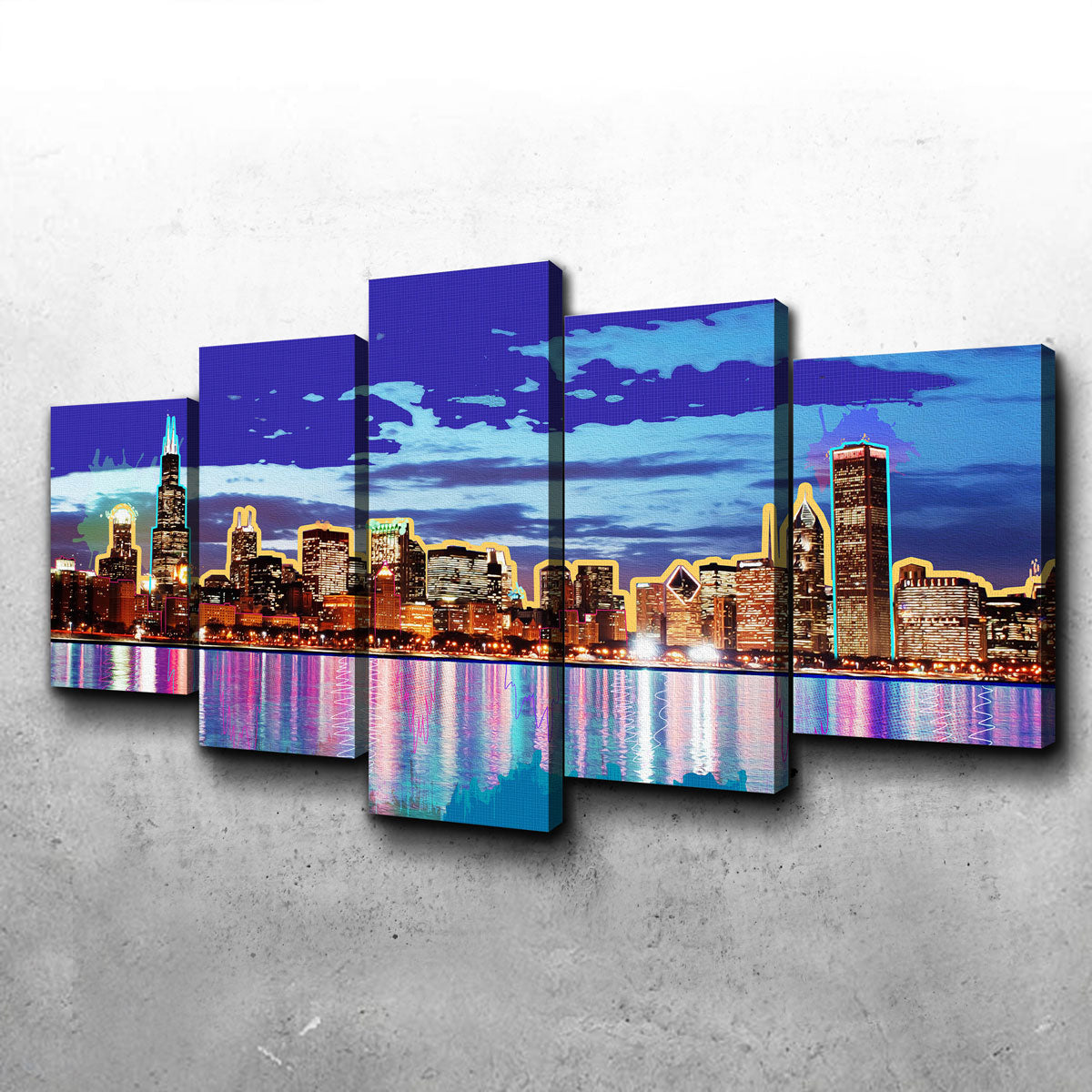 Neon Chicago Skyline Canvas Set