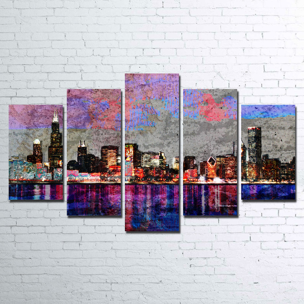 Abstract Chicago Skyline Canvas Set