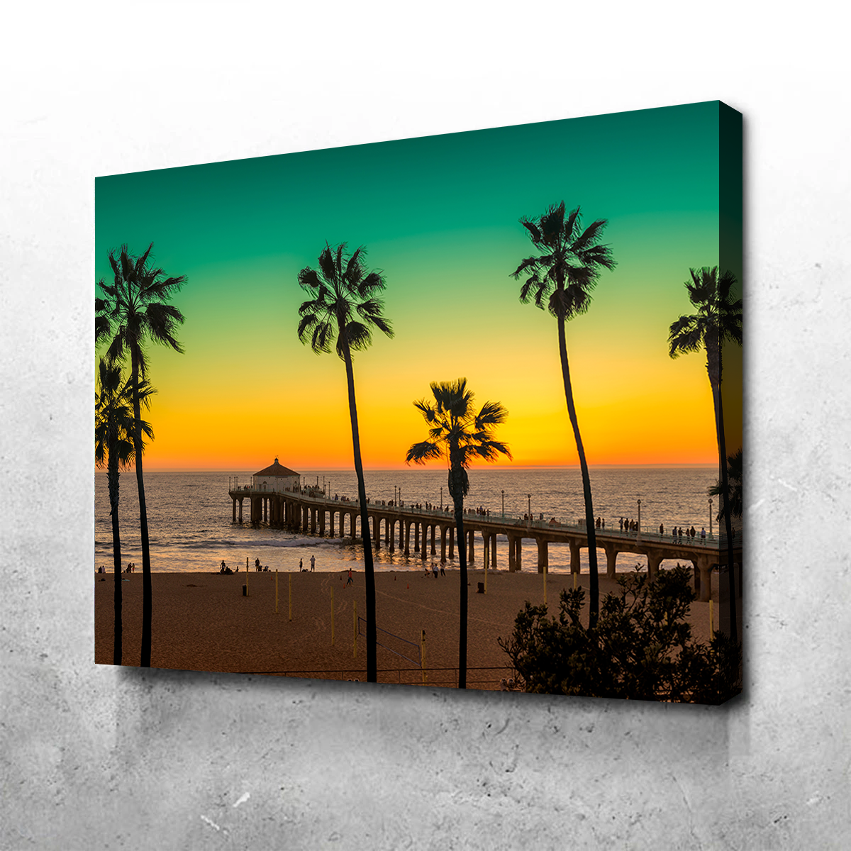 Palm Trees and Pier on Manhattan Beach