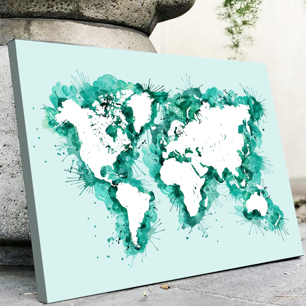 Green Splatter World Map
